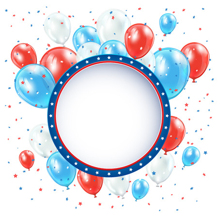 Independence day circle background with balloons and confetti, illustration  Vector