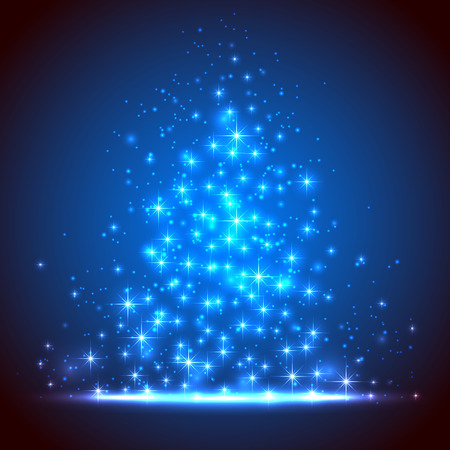Blue background with shining stars and blurry lights, illustration  Vector