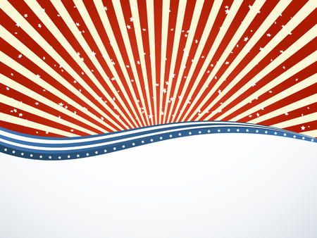 carnival background: Independence day striped background with red and blue lines and stars, illustration