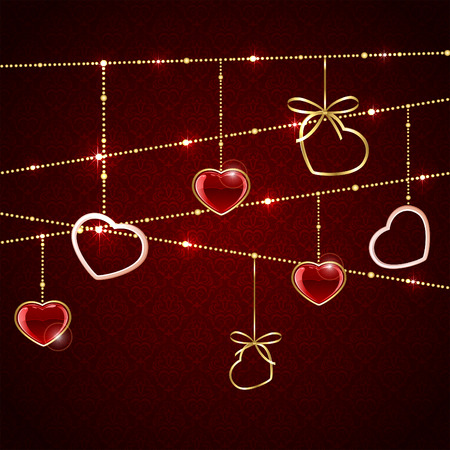 st valentin: Seamless valentines background with red hanging hearts, illustration