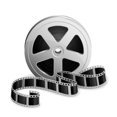 film projector: Film reel and twisted cinema tape isolated on white background, illustration