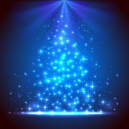 Fondo azul brillante con estrellas y luces borrosas, ilustración