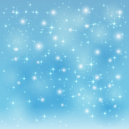 Blue sparkle background with shining stars and blurry lights, illustration