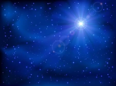 Stralende ster in het donker blauwe nachtelijke hemel, illustratie