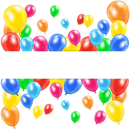 ballons: Holiday balloons and banner on white background, illustration