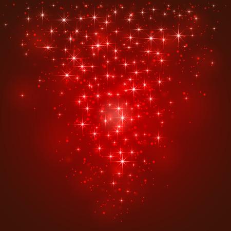 Rode glanzende achtergrond met sterren en wazig licht, illustratie