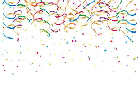 Partij streamers en kleurrijke confetti op een witte achtergrond, illustratie Stock Illustratie