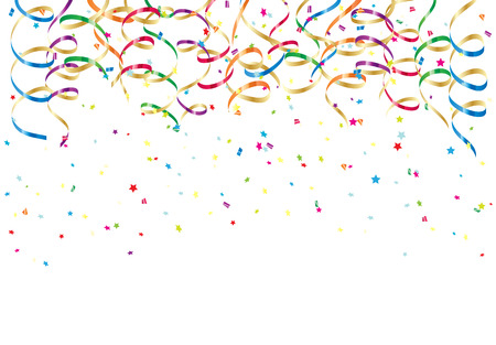 Party streamers and colorful confetti on white background, illustration  Ilustração