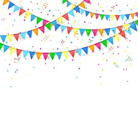 serpentinas: Fondo festivo con banderas y confeti de colores, ilustración