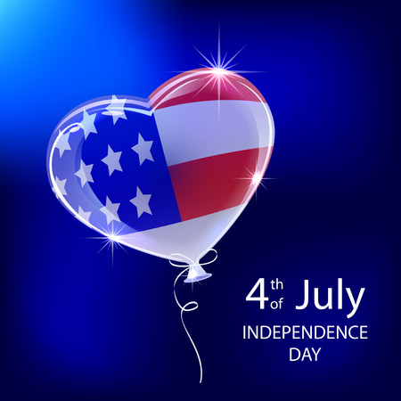 4 july: Independence day balloon with American flag, illustration