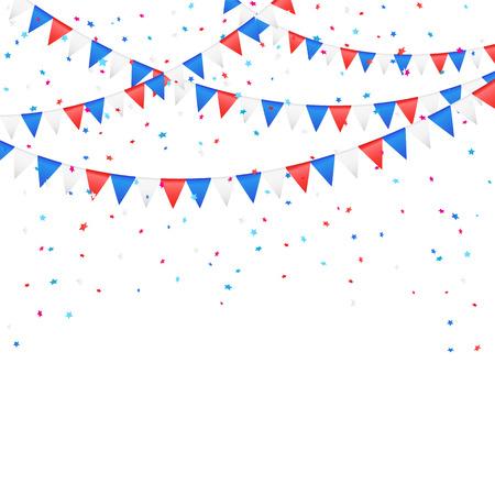 独立記念日の背景色付きフラグと紙吹雪、イラストに