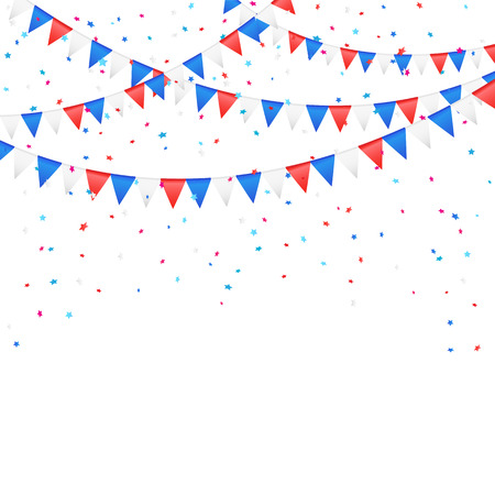 Independence day background with colored flags and confetti, illustration  Illustration