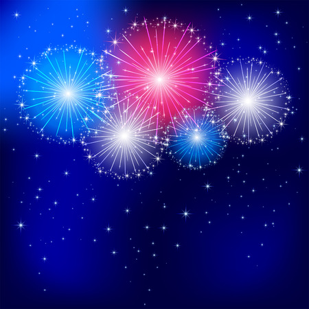 Independence day fireworks on the dark sky background, illustration  Vector