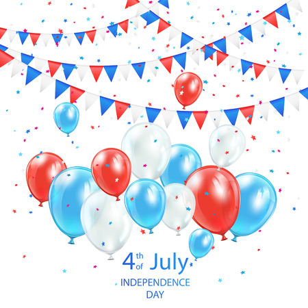 Independence day background with balloons, pennants and confetti, illustration  Vector