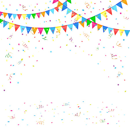 Festive background with colored pennants and confetti, illustration