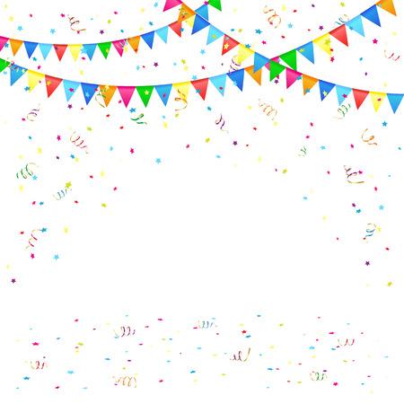 Fondo festivo con banderines y confeti de colores, ilustración