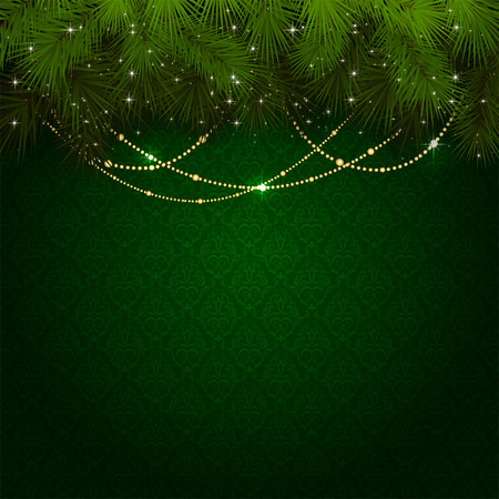 green wallpaper: Green wallpaper with branches of Christmas tree and decorative elements, illustration