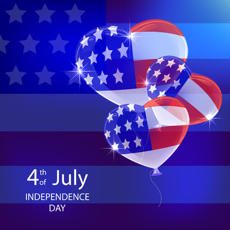 4 july: Independence day background with balloons and American flag, illustration