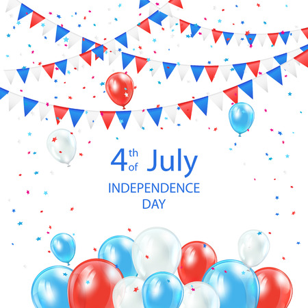 4 july: Happy Independence Day background with balloons, pennants and confetti, illustration  Illustration
