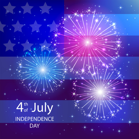 fireworks background: Independence day background with American flag and fireworks, illustration