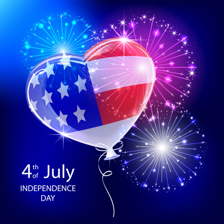 Independence day background with balloon, American flag and fireworks, illustration