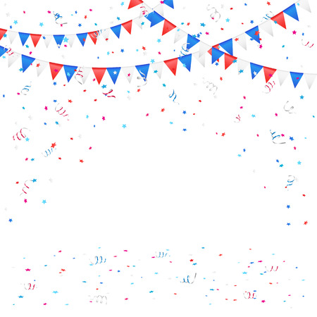 stars background: Independence day background with colored flags and confetti, illustration  Illustration