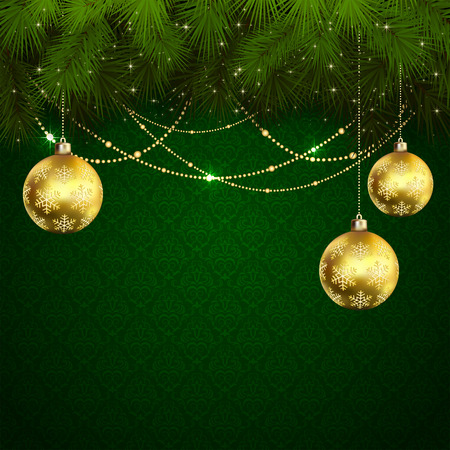Green wallpaper with branches of Christmas tree and baubles, illustration