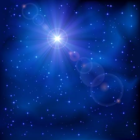 nascita di gesu: Shiny stella nel cielo blu scuro notte, illustrazione Vettoriali