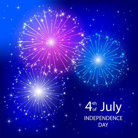 4 july: Independence day background with tricolor firework, illustration