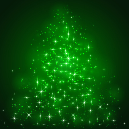 christmas backdrop: Green background with shining stars and blurry lights, illustration
