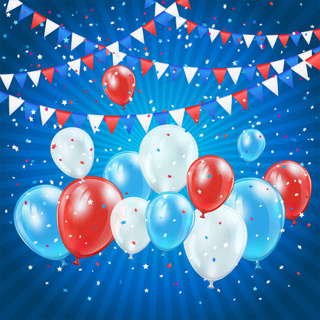 ballons: Independence day blue background with balloons, pennants and confetti, illustration  Illustration
