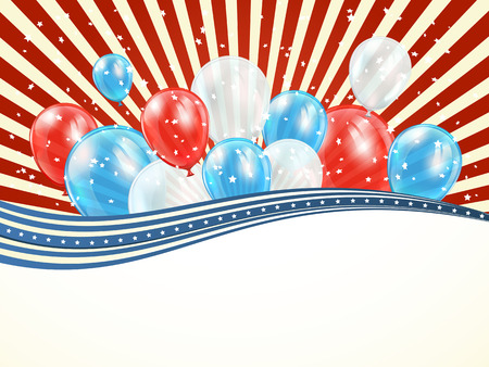 Independence day background with lines and balloons, illustration