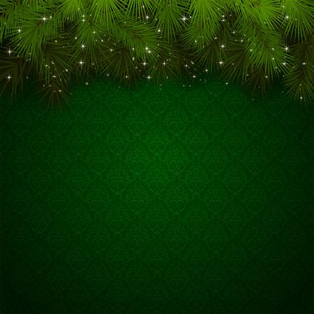 Kerst achtergrond met groen behang en mousserende sparren takken, illustratie
