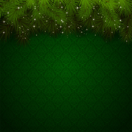 Christmas background with green wallpaper and sparkling spruce branches, illustration