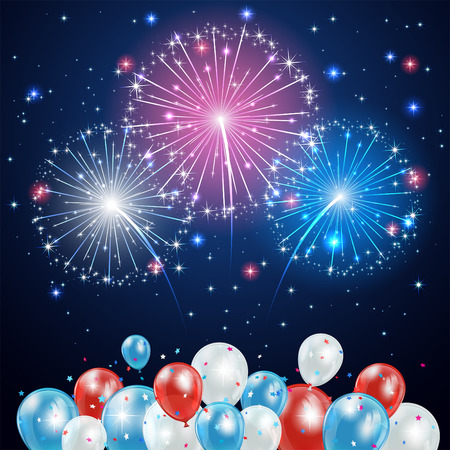 independence day: Independence day background with balloons and fireworks on night sky, illustration  Illustration