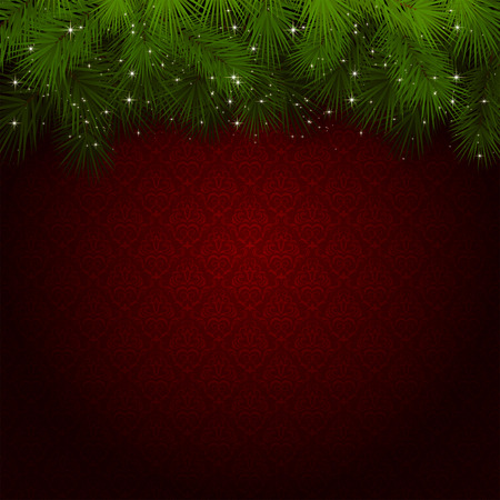 Christmas background with red wallpaper and sparkling spruce branches, illustration