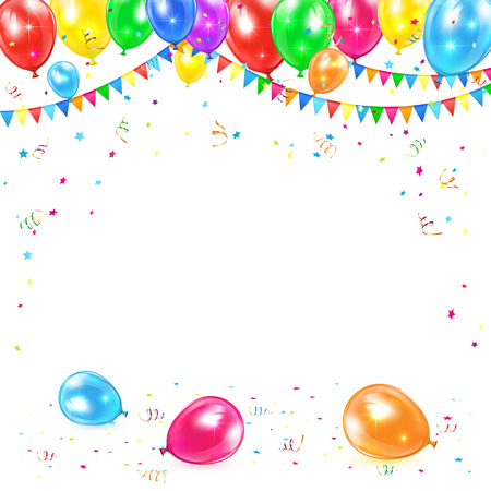 Holiday background with colored balloons, pennants, tinsel and confetti, illustration