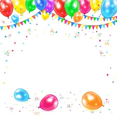 Vakantie achtergrond met gekleurde ballonnen, vlaggetjes, klatergoud en confetti, illustratie Stock Illustratie