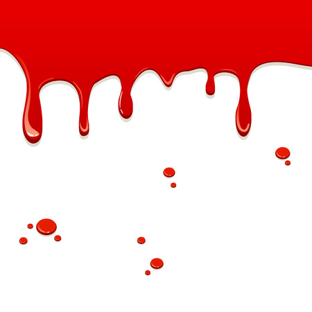 blood dripping: Red liquid flowing down and drops, illustration