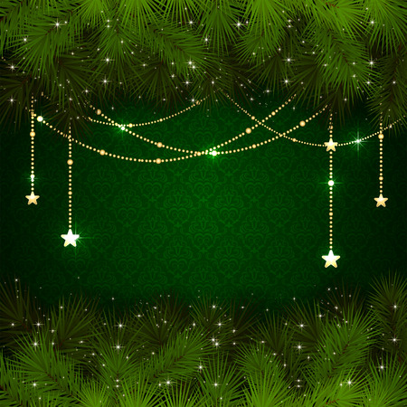 green wallpaper: Green wallpaper with branches of Christmas tree and gold decorative elements, illustration  Illustration