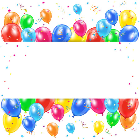 Holiday background with banner, balloons, tinsel and confetti, illustration