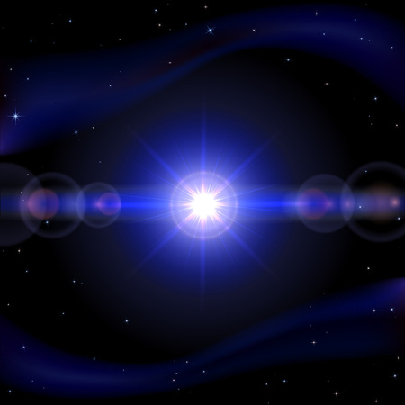 sun illustration: Blue space background with shining sun, illustration  Illustration
