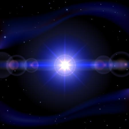 cosmic rays: Blue space background with shining sun, illustration  Illustration