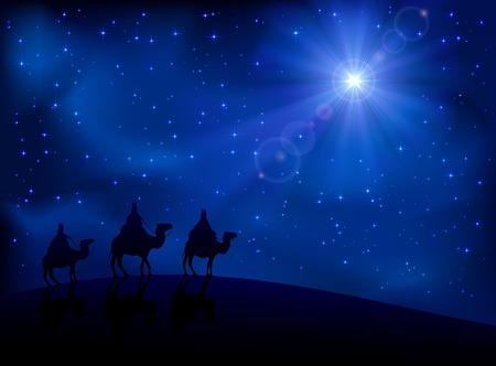 reyes magos: Escena cristiana de la Navidad con los tres sabios y brillante estrella, ilustraci�n Vectores