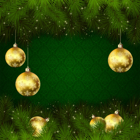 green wallpaper: Green wallpaper with branches of Christmas tree and golden baubles, illustration