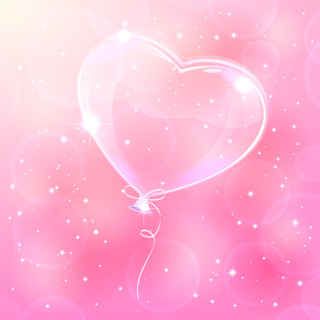 st valentin: Transparent balloon on pink blurry background, illustration  Illustration