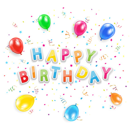 balon: The words Happy Birthday with balloons, confetti and tinsel, isolated on white background, illustration
