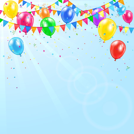 Colorful birthday balloons, pennants, tinsel and confetti on sky background, illustration