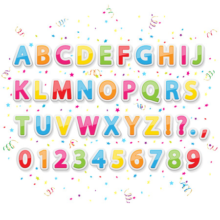 Set of colored stickers alphabet letters on holiday background, illustration  Vector