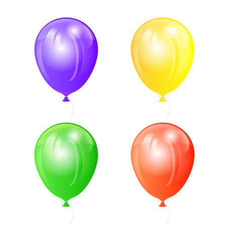 inflating: Set of four colored balloons isolated on white background, illustration